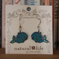 Whale Painted Metal Earrings